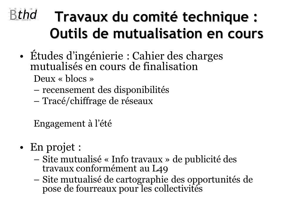 Travaux du comité technique : Outils de mutualisation en cours