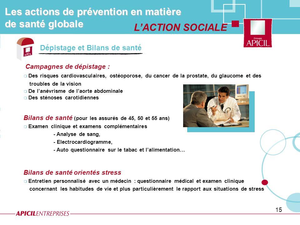 Les actions de prévention en matière de santé globale L'ACTION SOCIALE