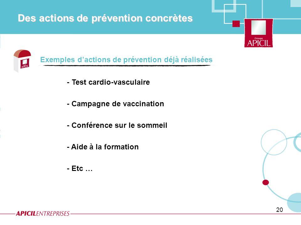 Des actions de prévention concrètes