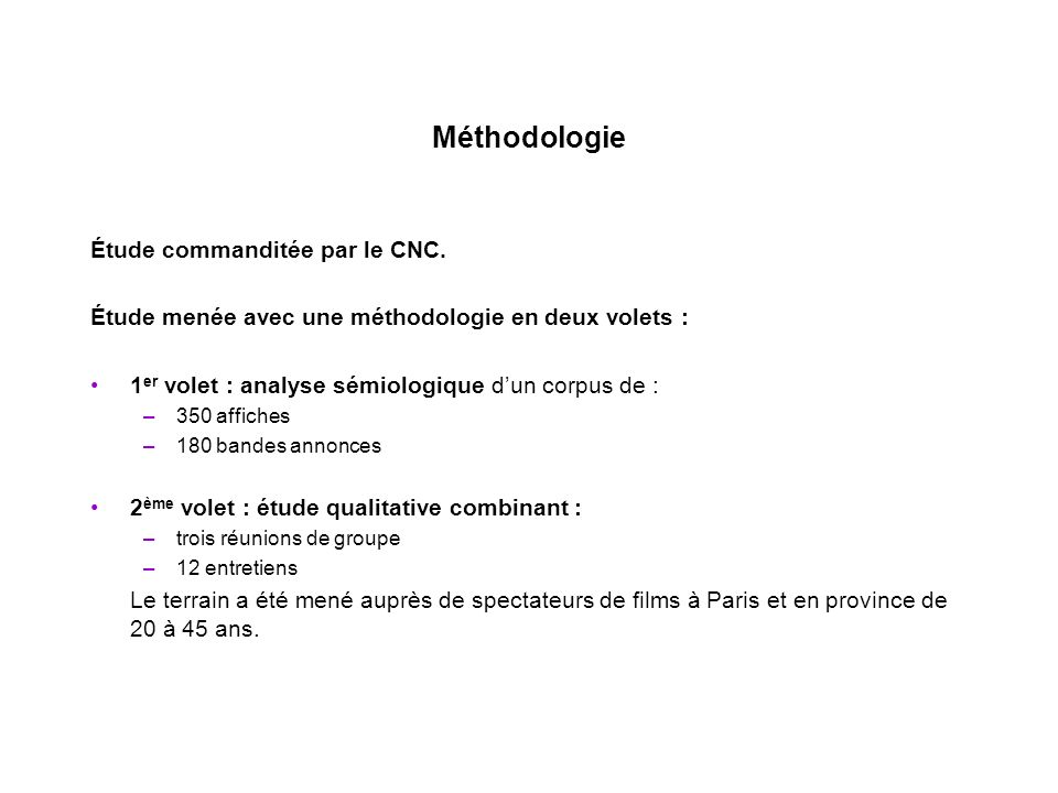 Méthodologie Étude commanditée par le CNC.