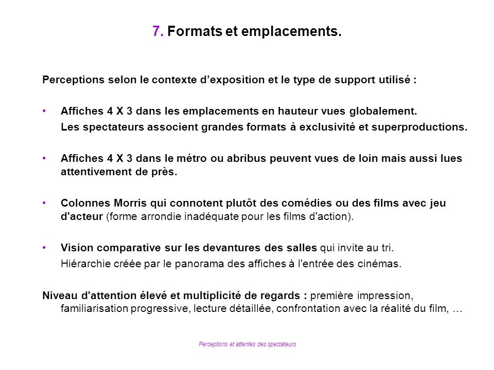 7. Formats et emplacements.
