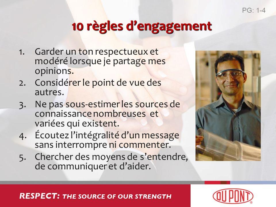 PG: 1-410 règles d'engagement. Garder un ton respectueux et modéré lorsque je partage mes opinions.