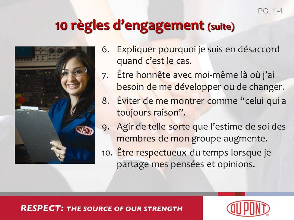 10 règles d'engagement (suite)