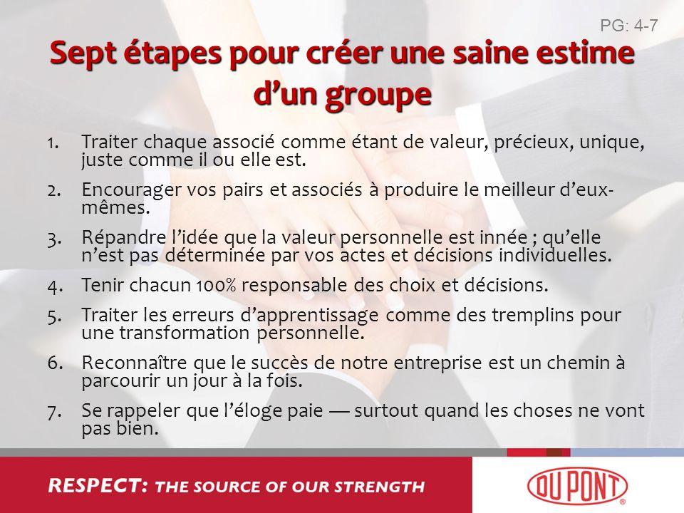 Sept étapes pour créer une saine estime d'un groupe