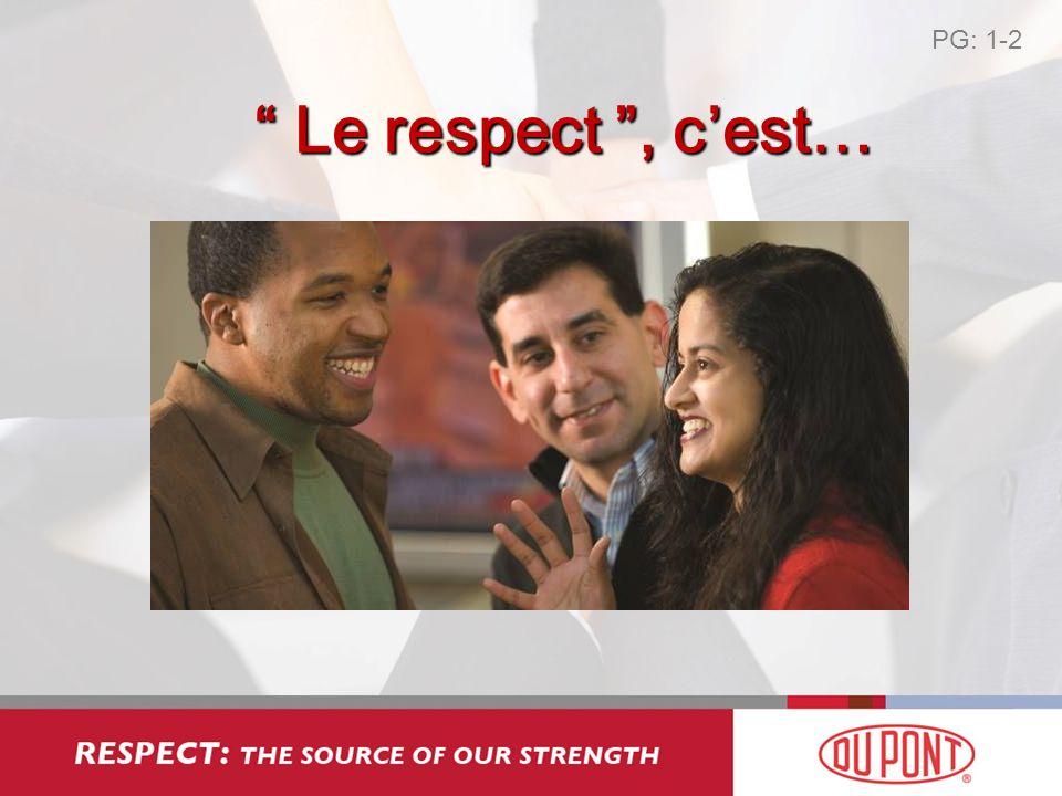 PG: 1-2 Le respect , c'est…