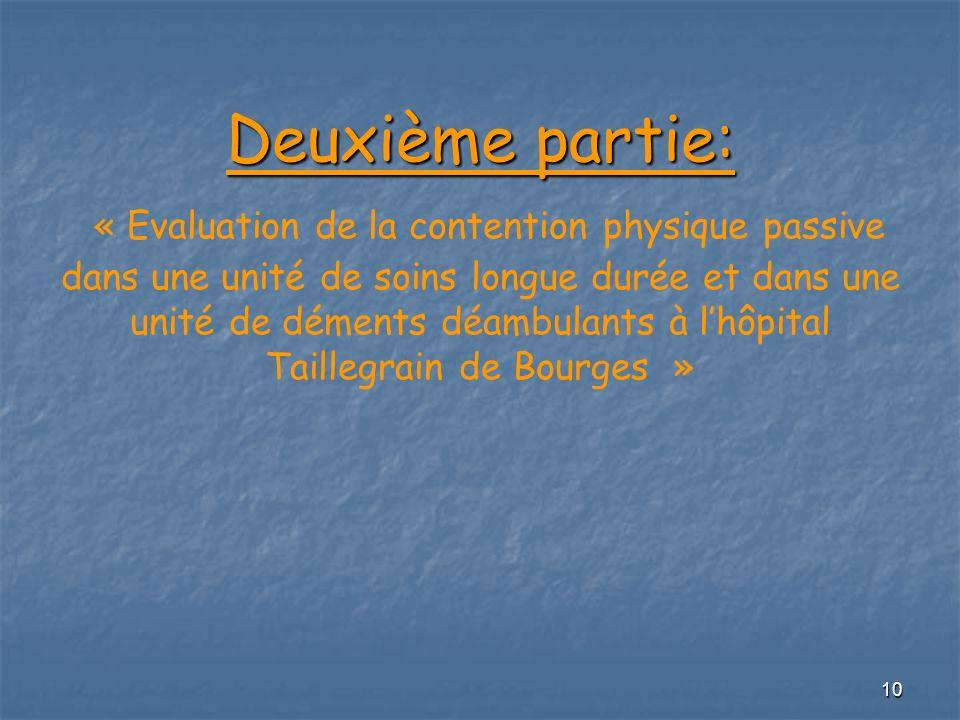 Deuxième partie: « Evaluation de la contention physique passive dans une unité de soins longue durée et dans une unité de déments déambulants à l'hôpital Taillegrain de Bourges »