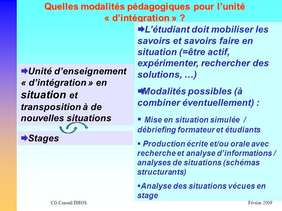 Quelles modalités pédagogiques pour l'unité « d'intégration »
