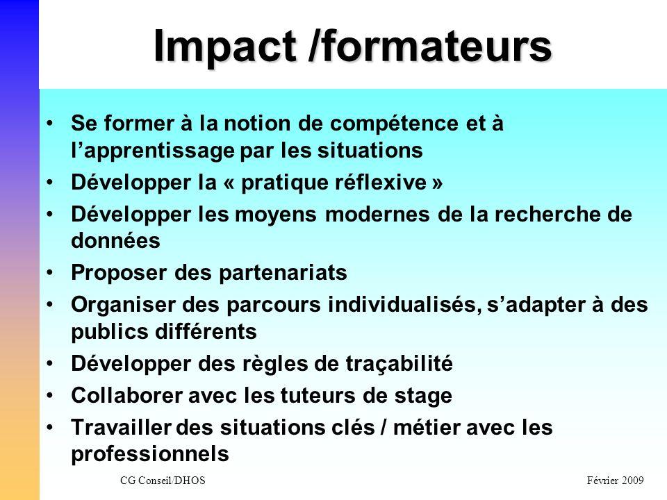 Impact /formateurs Se former à la notion de compétence et à l'apprentissage par les situations. Développer la « pratique réflexive »