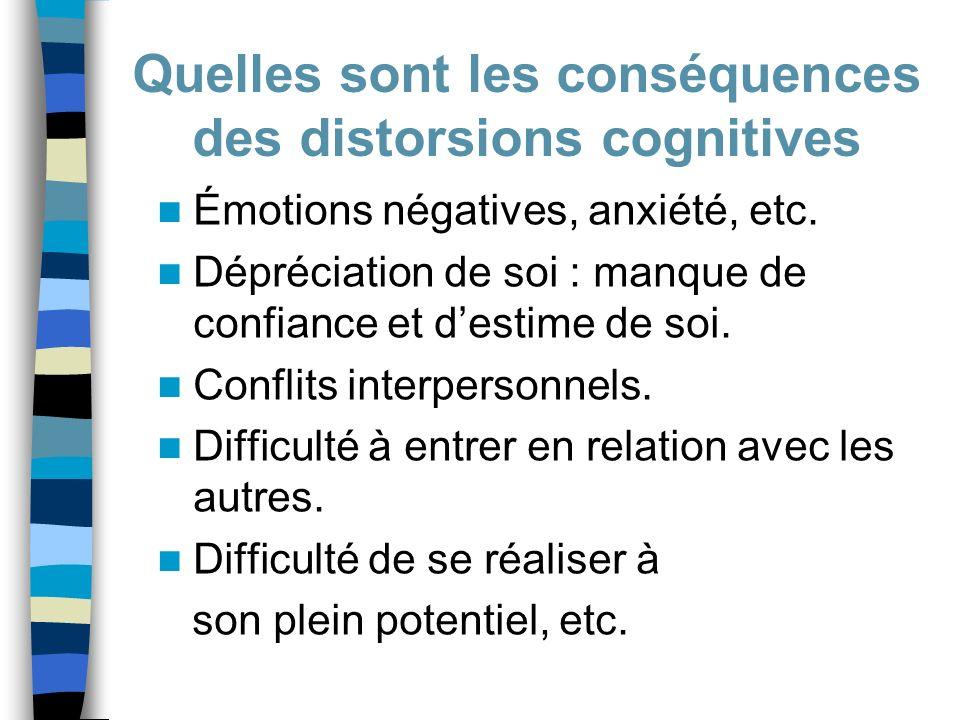 Quelles sont les conséquences des distorsions cognitives