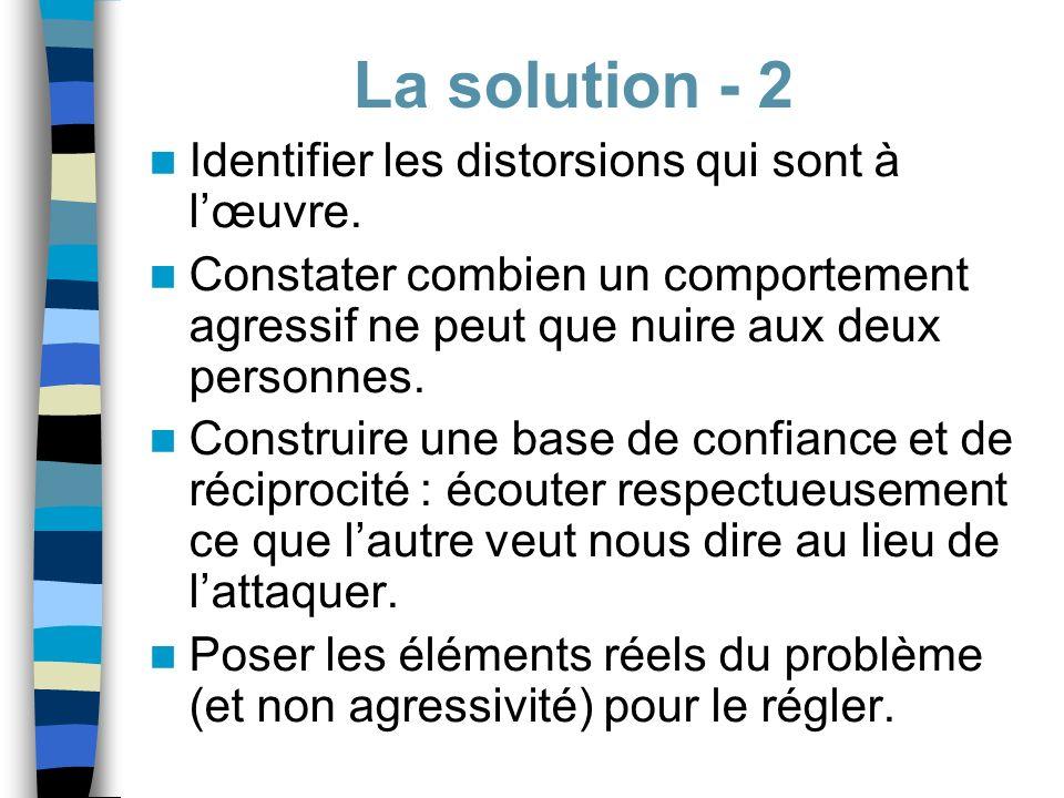 La solution - 2 Identifier les distorsions qui sont à l'œuvre.