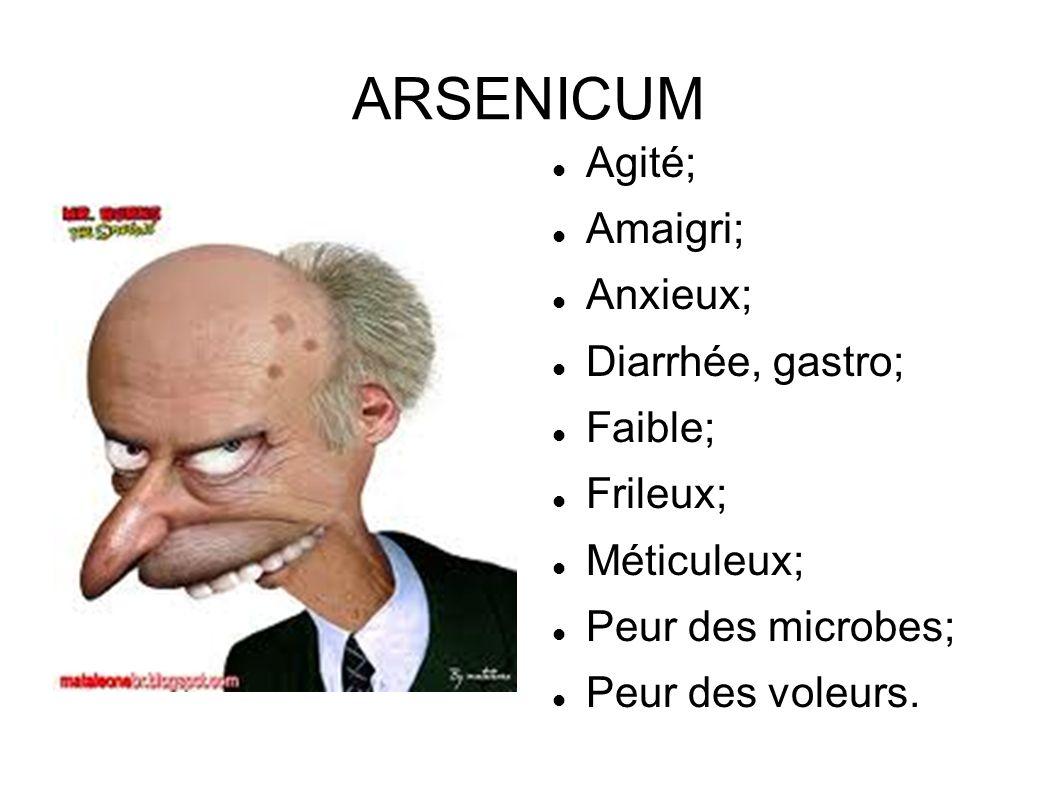 ARSENICUM Agité; Amaigri; Anxieux; Diarrhée, gastro; Faible; Frileux;