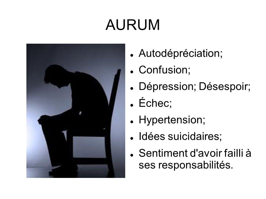 AURUM Autodépréciation; Confusion; Dépression; Désespoir; Échec;