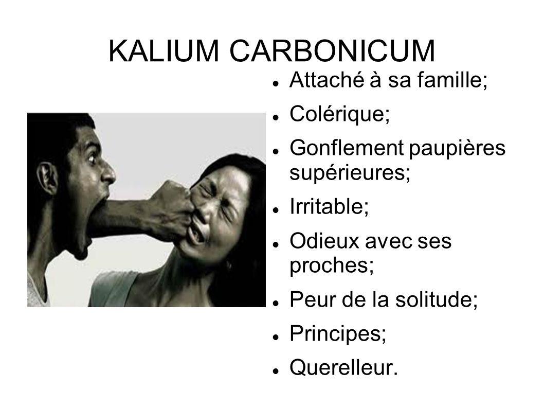 KALIUM CARBONICUM Attaché à sa famille; Colérique;