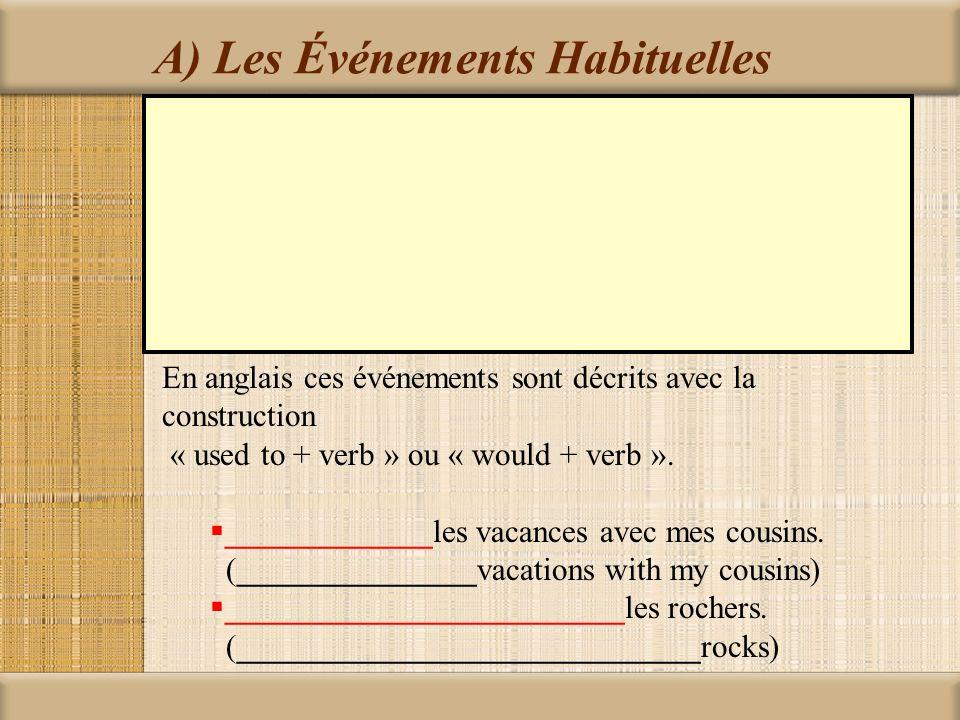 A) Les Événements Habituelles