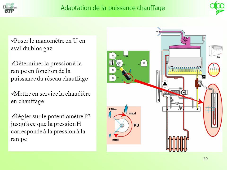 Adaptation de la puissance chauffage
