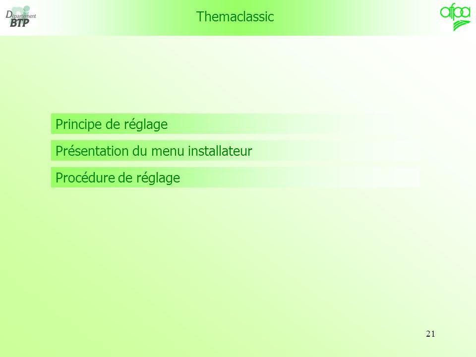 Themaclassic Principe de réglage Présentation du menu installateur Procédure de réglage
