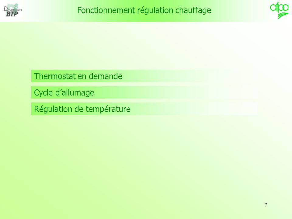 Fonctionnement régulation chauffage