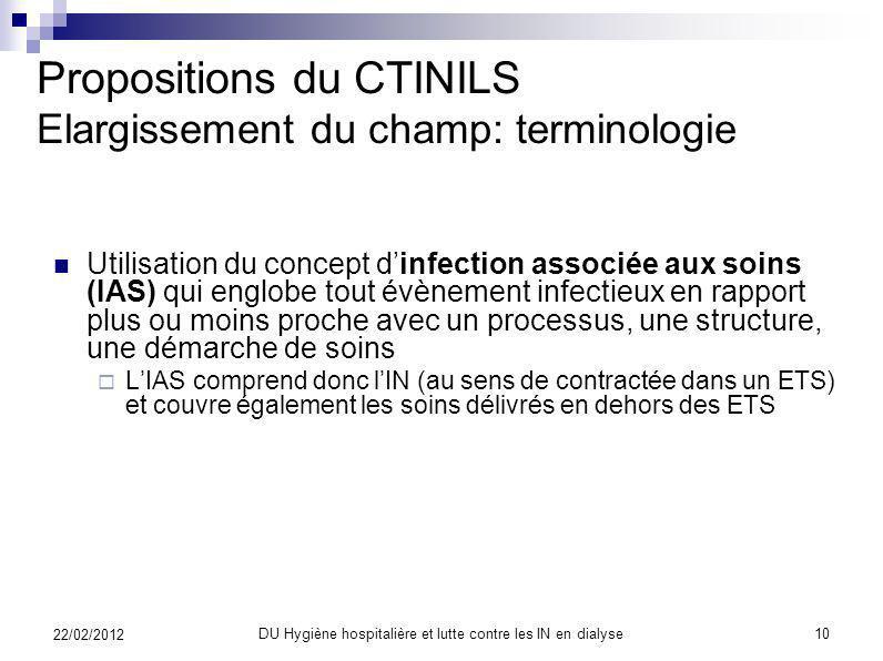 Propositions du CTINILS Elargissement du champ: terminologie