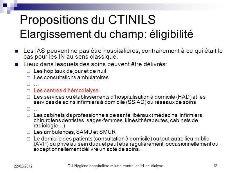 Propositions du CTINILS Elargissement du champ: éligibilité
