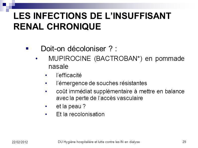LES INFECTIONS DE L'INSUFFISANT RENAL CHRONIQUE