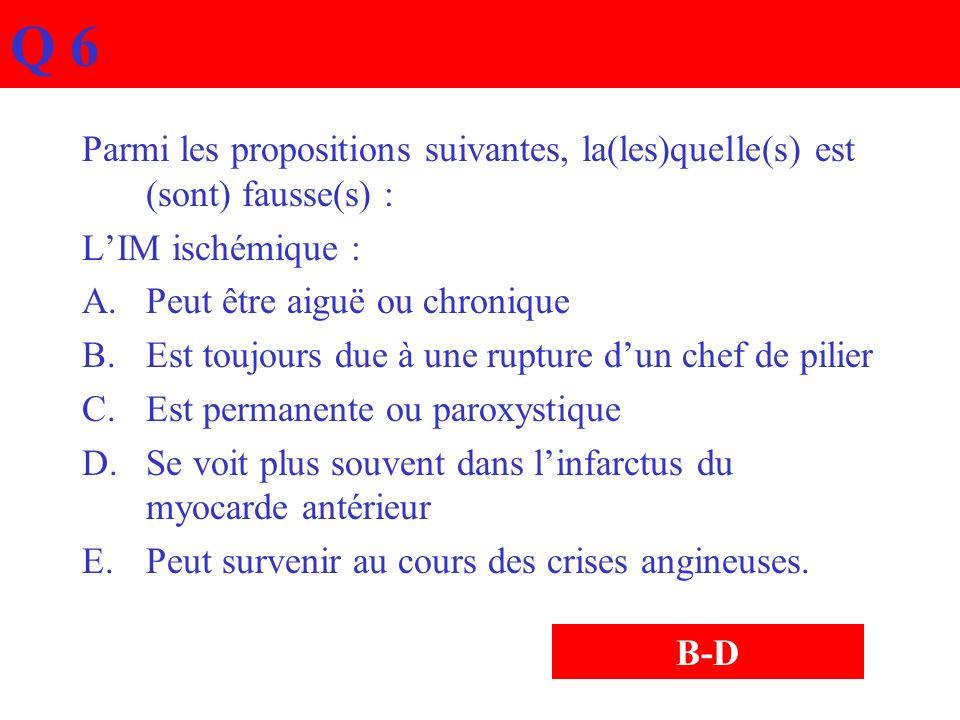 Q 6Parmi les propositions suivantes, la(les)quelle(s) est (sont) fausse(s) : L'IM ischémique : Peut être aiguë ou chronique.