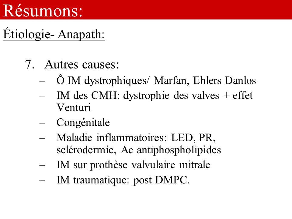 Résumons: Étiologie- Anapath: Autres causes: