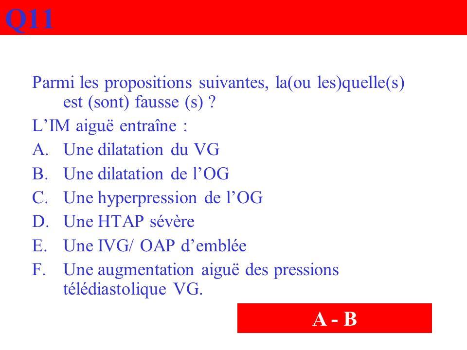 Q11 Parmi les propositions suivantes, la(ou les)quelle(s) est (sont) fausse (s) L'IM aiguë entraîne :