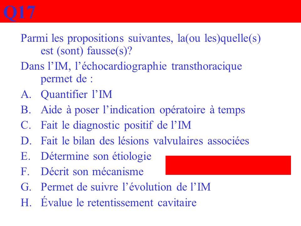 Q17 Parmi les propositions suivantes, la(ou les)quelle(s) est (sont) fausse(s) Dans l'IM, l'échocardiographie transthoracique permet de :