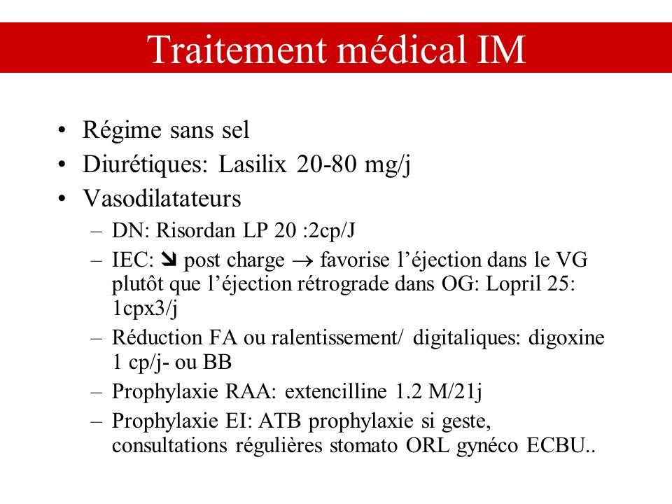 Traitement médical IM Régime sans sel Diurétiques: Lasilix 20-80 mg/j