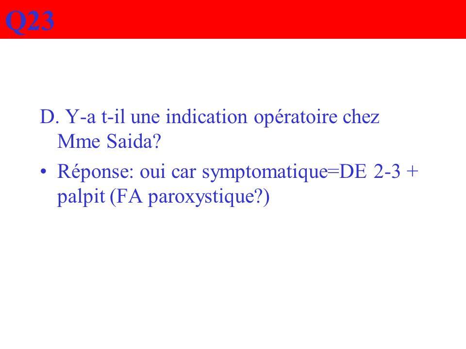 Q23 D. Y-a t-il une indication opératoire chez Mme Saida