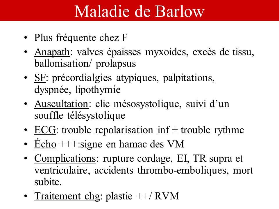 Maladie de Barlow Plus fréquente chez F