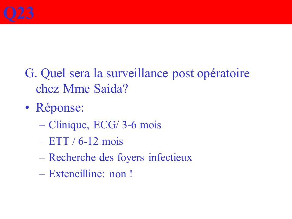 Q23 G. Quel sera la surveillance post opératoire chez Mme Saida