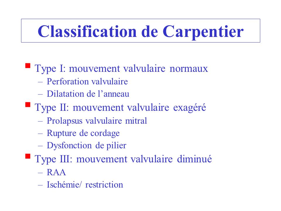 Classification de Carpentier