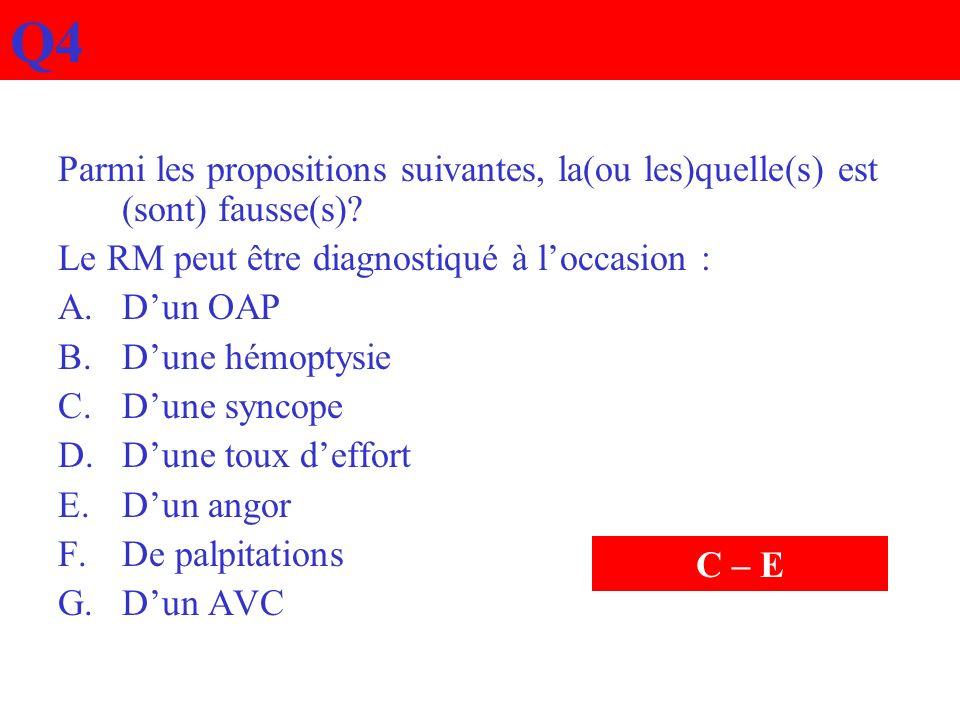 Q4 Parmi les propositions suivantes, la(ou les)quelle(s) est (sont) fausse(s) Le RM peut être diagnostiqué à l'occasion :