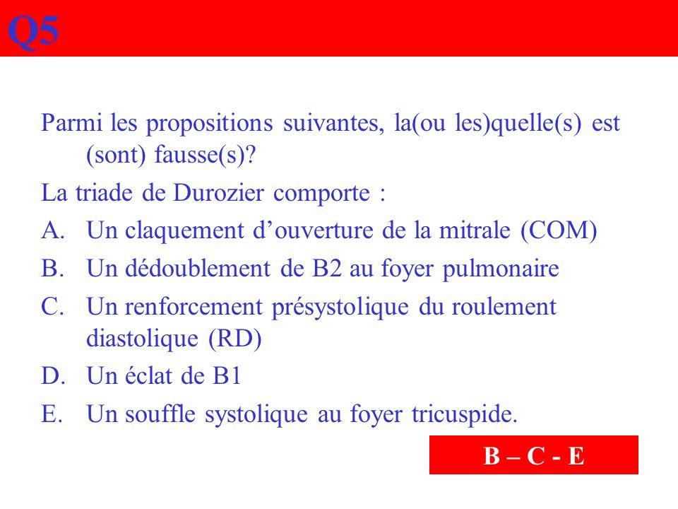 Q5 Parmi les propositions suivantes, la(ou les)quelle(s) est (sont) fausse(s) La triade de Durozier comporte :