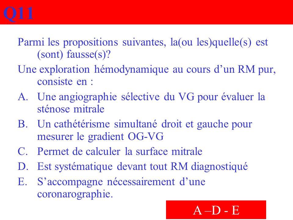 Q11 Parmi les propositions suivantes, la(ou les)quelle(s) est (sont) fausse(s) Une exploration hémodynamique au cours d'un RM pur, consiste en :