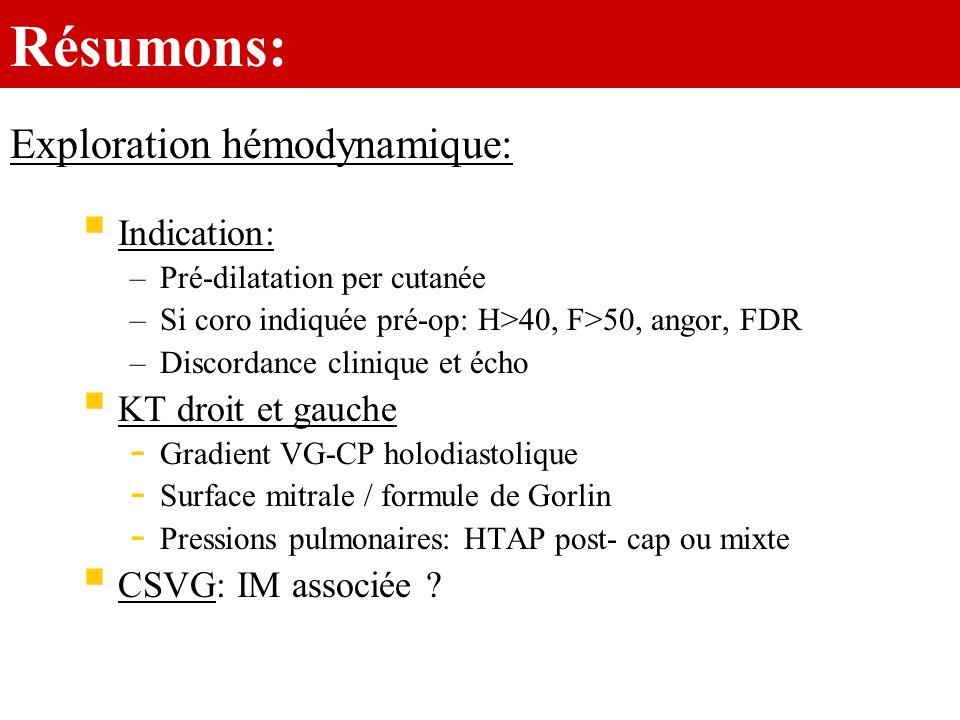 Résumons: Exploration hémodynamique: Indication: KT droit et gauche