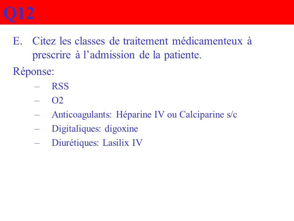 Q12Citez les classes de traitement médicamenteux à prescrire à l'admission de la patiente. Réponse: