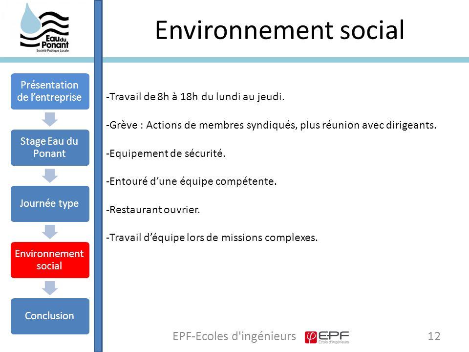 Environnement social EPF-Ecoles d ingénieurs