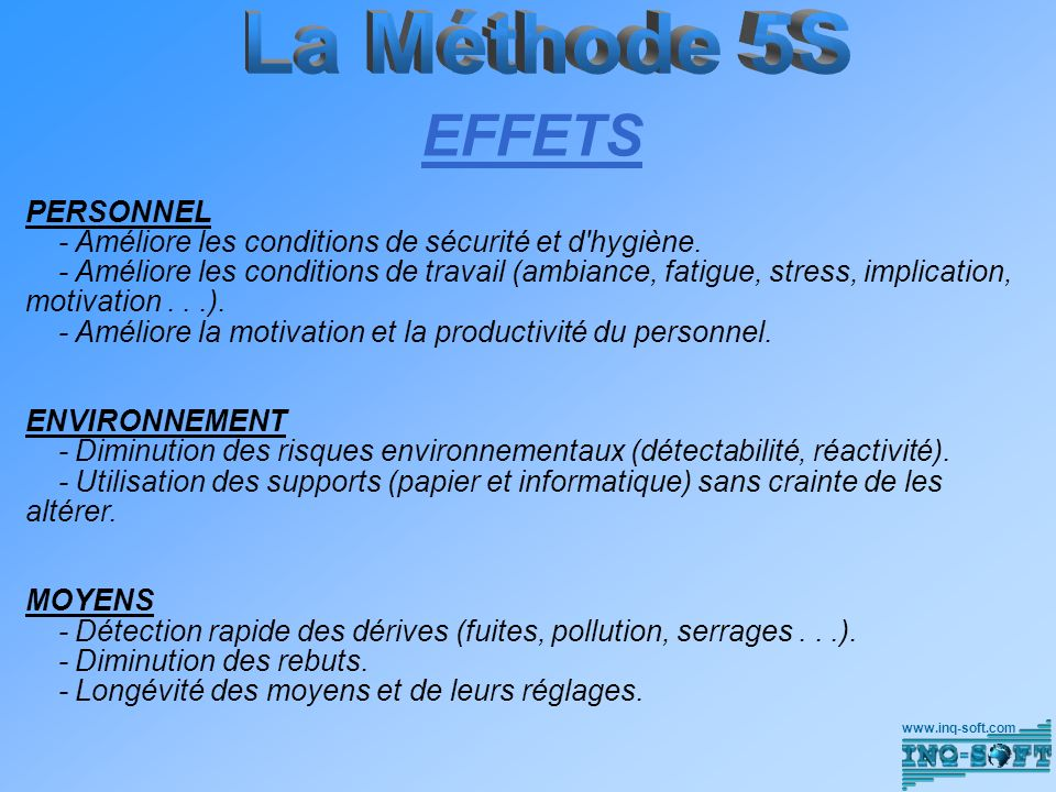 EFFETS La Méthode 5S PERSONNEL