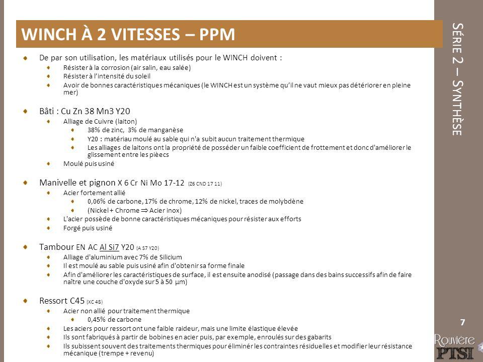 Winch à 2 vitesses – PPM Bâti : Cu Zn 38 Mn3 Y20