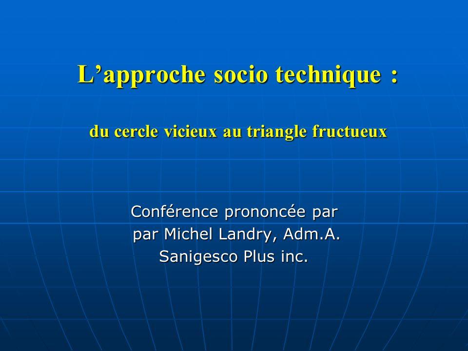 L'approche socio technique : du cercle vicieux au triangle fructueux