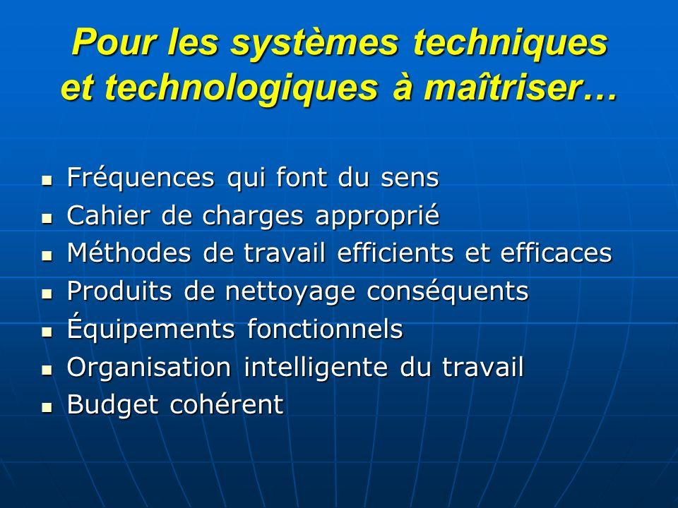 Pour les systèmes techniques et technologiques à maîtriser…
