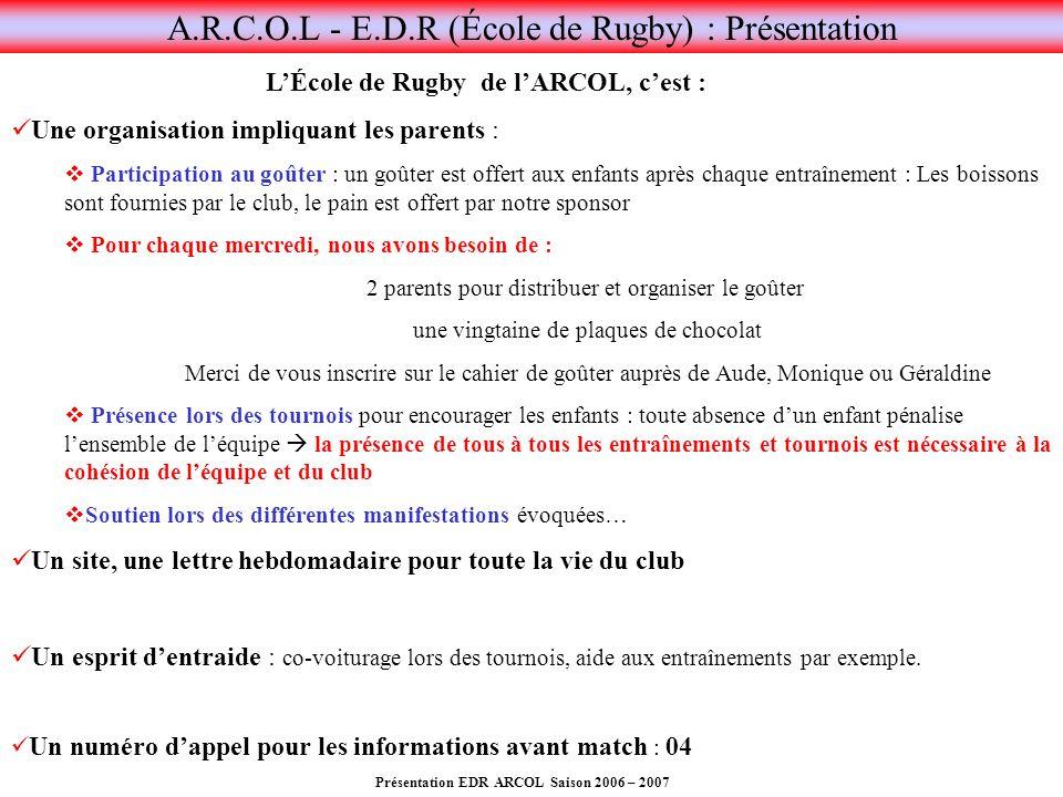 A.R.C.O.L - E.D.R (École de Rugby) : Présentation