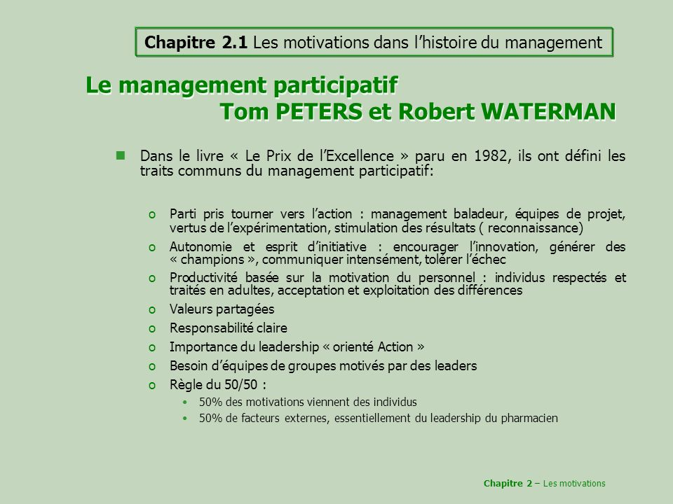 Le management participatif Tom PETERS et Robert WATERMAN
