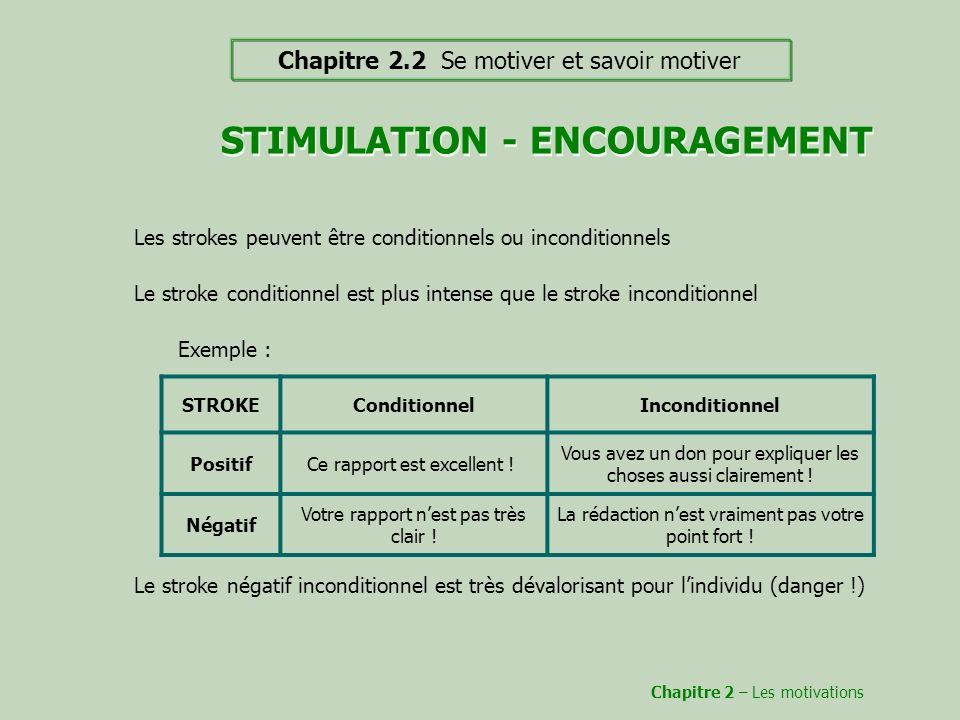 STIMULATION - ENCOURAGEMENT