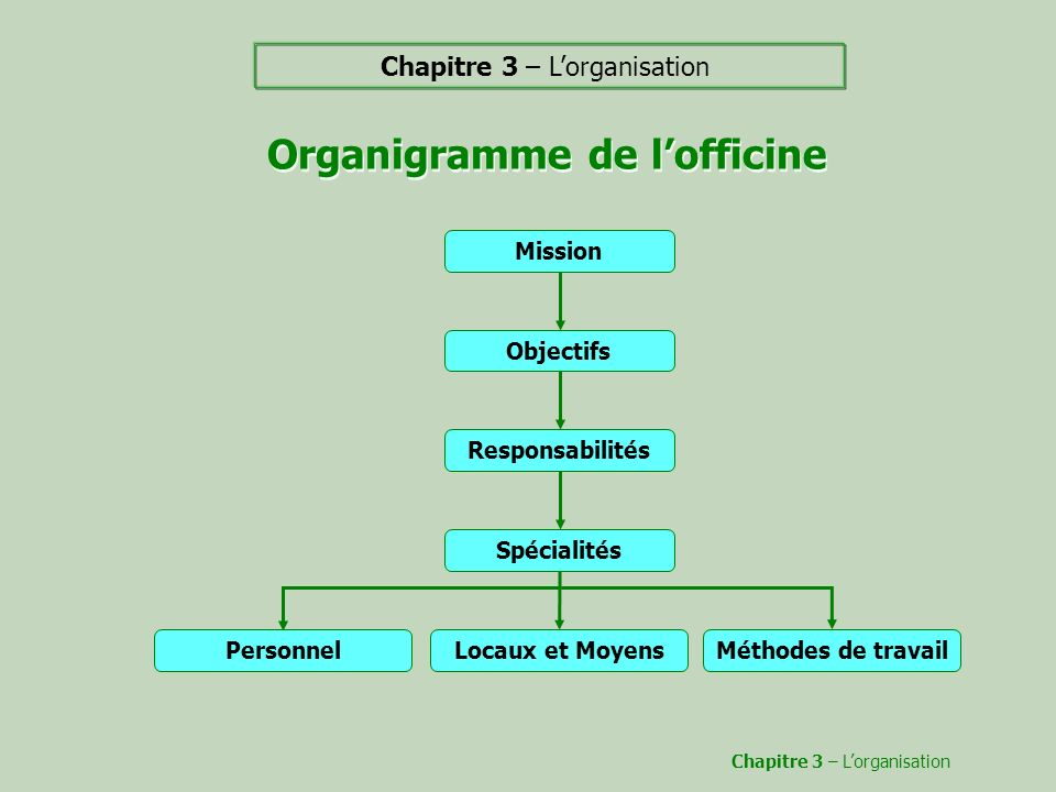 Organigramme de l'officine