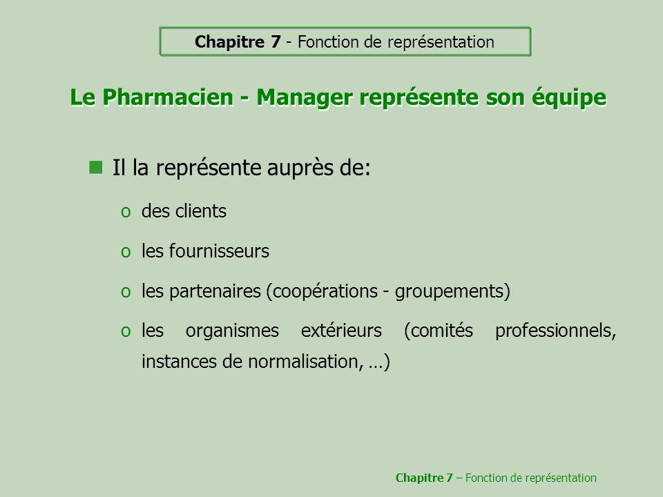 Le Pharmacien - Manager représente son équipe