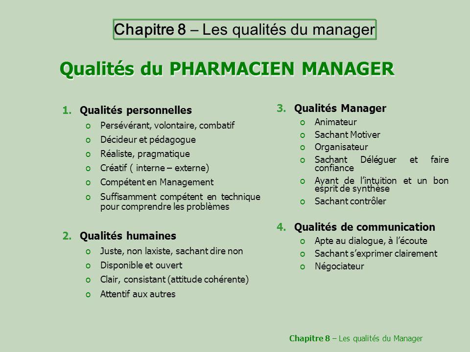 Qualités du PHARMACIEN MANAGER