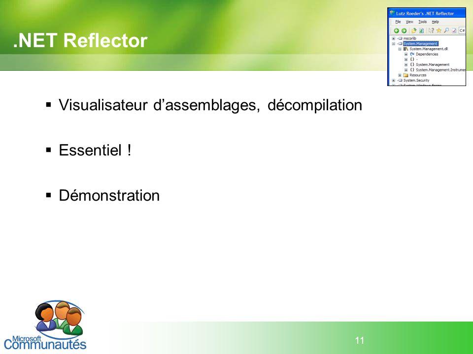 .NET Reflector Visualisateur d'assemblages, décompilation Essentiel !